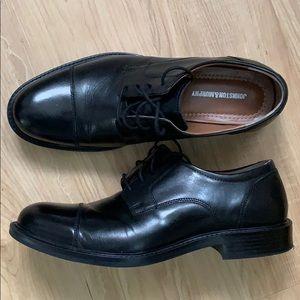 Black Leather Calfskin Cap Toe Dress Shoes EUC